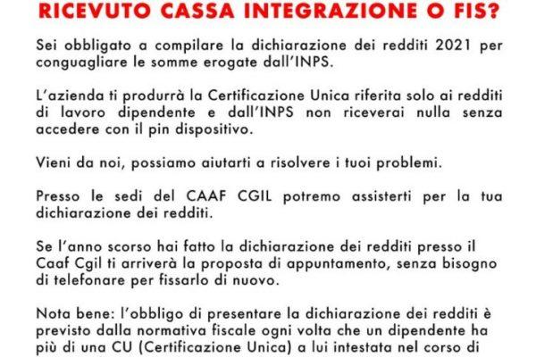 CAAF: per i lavoratori dipendenti in Cassa Integrazione e FIS, dichiarazione dei redditi